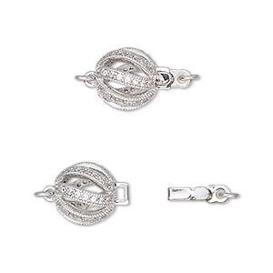 clasp, tab with safety, cubic zirconia and rhodium-plated brass, clear, 10mm round with cutout swirls and 2 jumprings. sold individually.