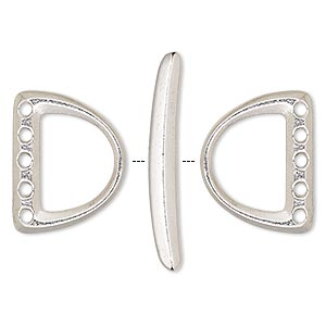 clasp, tierracast, 5-strand toggle, rhodium-plated pewter (tin-based alloy), 19.5x15.5mm d-ring. sold per 3-piece set.