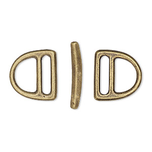 clasp, tierracast, toggle, antique brass-plated pewter (tin-based alloy), 15x14mm slotted d-ring, 10x2mm hole. sold per 3-piece set.
