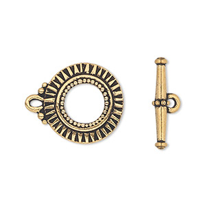 clasp, tierracast, toggle, antique gold-plated pewter (tin-based alloy), 17.5mm round with sunburst design. sold individually.