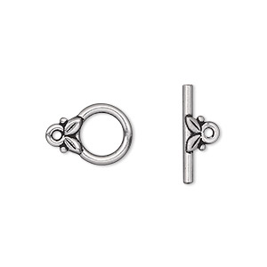 clasp, tierracast, toggle, antique silver-plated pewter (tin-based alloy), 11.5mm round with leaves. sold individually.