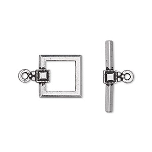 clasp, tierracast, toggle, antique silver-plated pewter (tin-based alloy), 12.5mm square with small beaded square design. sold individually.
