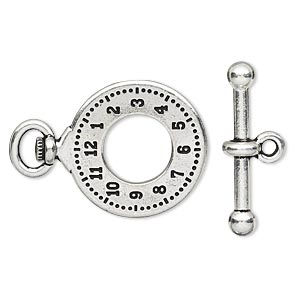 clasp, tierracast, toggle, antique silver-plated pewter (tin-based alloy), 29x20.5mm double-sided pocket watch. sold individually.