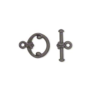 clasp, tierracast, toggle, black-plated pewter (tin-based alloy), 12mm fancy round. sold individually.