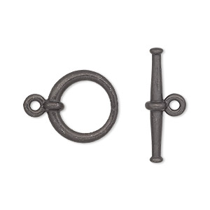 clasp, tierracast, toggle, black-plated pewter (tin-based alloy), 16.5mm tapered round. sold individually.