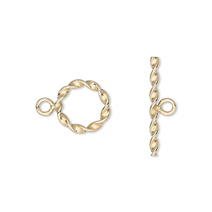 clasp, toggle, 12kt gold-filled, 12mm fancy round. sold individually.