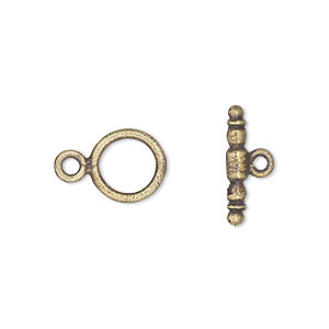 clasp, toggle, antique brass-plated pewter (tin-based alloy), 10mm plain round. sold per pkg of 4.