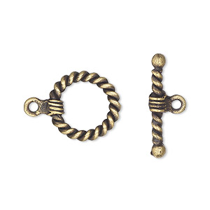 clasp, toggle, antique brass-plated pewter (tin-based alloy), 15mm with twisted rope design. sold per pkg of 2.