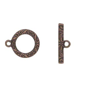 clasp, toggle, antique copper-finished pewter (zinc-based alloy), 17mm single-sided round with vine and flower design. sold per pkg of 8.
