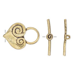 clasp, toggle, antique gold-finished brass, 22x16mm single-sided scrolled heart. sold per pkg of 4.