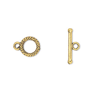 clasp, toggle, antique gold-finished pewter (zinc-based alloy), 10mm double-sided round. sold per pkg of 20.