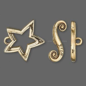 clasp, toggle, antique gold-finished pewter (zinc-based alloy), 21x20mm star and bar with wish. sold individually.
