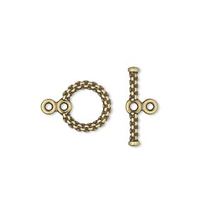 clasp, toggle, antique gold-plated brass, 10mm spiral round with loops. sold per pkg of 10.