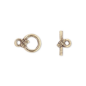 clasp, toggle, antique gold-plated pewter (tin-based alloy), 10mm round with dragonfly. sold per pkg of 4.