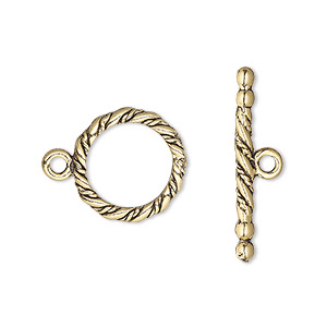 clasp, toggle, antique gold-plated pewter (tin-based alloy), 15mm round with rope design. sold per pkg of 2.