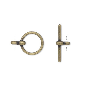 clasp, toggle, antique gold-plated pewter (zinc-based alloy), 12mm smooth round. sold per pkg of 100.