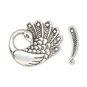 clasp, toggle, antique silver-finished pewter (zinc-based alloy), 27x22mm peacock. sold per pkg of 2.