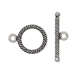 clasp, toggle, antique silver-plated copper, 17mm textured round. sold per pkg of 4.