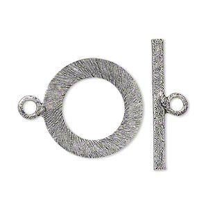 clasp, toggle, antique silver-plated copper, 21mm flat round. sold per pkg of 4.