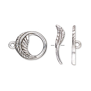 clasp, toggle, antique silver-plated pewter (tin-based alloy), 15mm round with leaf design. sold individually.