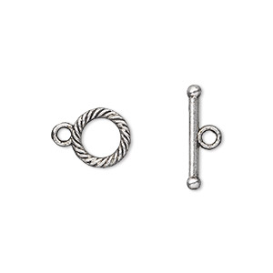 clasp, toggle, antique silver-plated pewter (zinc-based alloy), 10mm double-sided round. sold per pkg of 20.