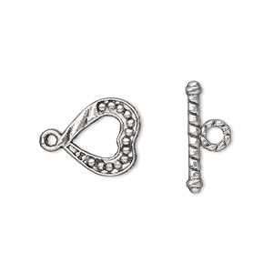 clasp, toggle, antique silver-plated pewter (zinc-based alloy), 13x13mm single-sided heart. sold per pkg of 50.