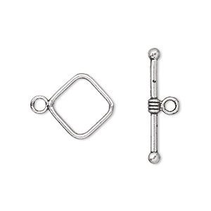 clasp, toggle, antique silver-plated pewter (zinc-based alloy), 14x14mm double-sided diamond. sold per pkg of 20.