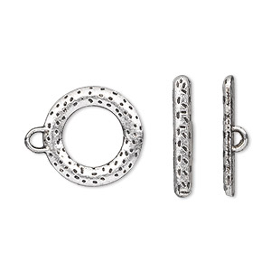 clasp, toggle, antique silver-plated pewter (zinc-based alloy), 16mm double-sided round. sold per pkg of 10.
