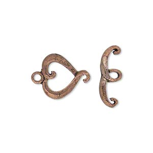 clasp, toggle, antiqued copper, 14x13mm heart. sold per pkg of 6.