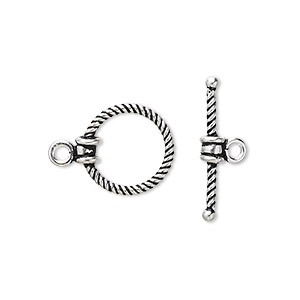 clasp, toggle, antiqued sterling silver, 14.5x14mm twisted round. sold individually.