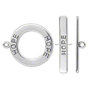 clasp, toggle, antiqued sterling silver, 21mm double-sided round with hope. sold individually.