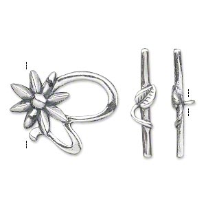 clasp, toggle, antiqued sterling silver, 23x18mm fancy flower. sold individually.