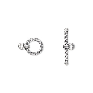 clasp, toggle, antiqued sterling silver, 8mm twisted round. sold per pkg of 2.