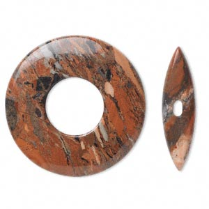 clasp, toggle, brecciated jasper (natural), 45x6mm round donut, 38x10mm bar, b grade, mohs hardness 6-1/2 to 7. sold individually.