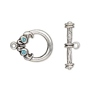 clasp, toggle, glass rhinestone and antique silver-finished pewter (zinc-based alloy), aqua blue, 17x16mm round. sold individually.