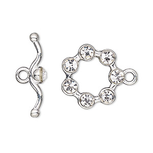 clasp, toggle, glass rhinestone and silver-finished pewter (zinc-based alloy), clear, 19mm round. sold individually.