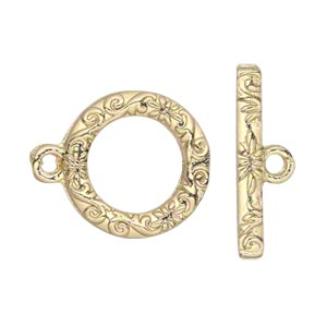 clasp, toggle, gold-finished pewter (zinc-based alloy), 17mm single-sided round with vine and flower design. sold per pkg of 8.