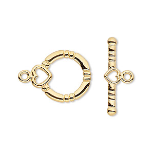 clasp, toggle, gold-plated brass, 14x13mm round with hearts. sold per pkg of 10.