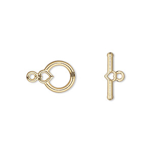 clasp, toggle, gold-plated pewter (zinc-based alloy), 10x9mm round with heart. sold per pkg of 100.