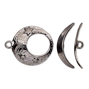 clasp, toggle, gunmetal-plated pewter (tin-based alloy), 19.5mm textured go-go with moon and star design. sold individually.