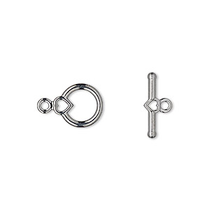 clasp, toggle, gunmetal-plated pewter (zinc-based alloy), 10x9mm smooth round with heart. sold per pkg of 10.