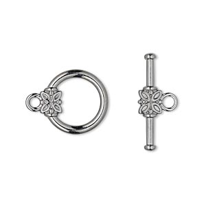 clasp, toggle, gunmetal-plated pewter (zinc-based alloy), 14mm smooth round with flower. sold per pkg of 10.