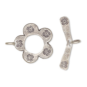 clasp, toggle, hill tribes, antiqued fine silver, 18mm flower with scroll bar. sold individually.