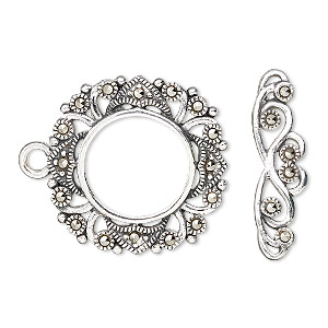 clasp, toggle, marcasite (natural) and sterling silver, 23mm fancy round. sold individually.