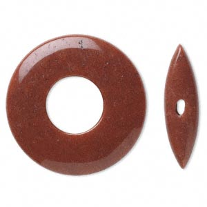 clasp, toggle, red jasper (natural), 45x6mm round donut, 38x10mm bar, b grade, mohs hardness 6-1/2 to 7. sold individually.