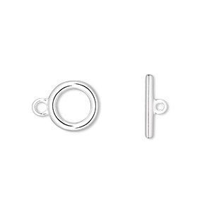 clasp, toggle, silver-plated pewter (zinc-based alloy), 10mm smooth round. sold per pkg of 10.
