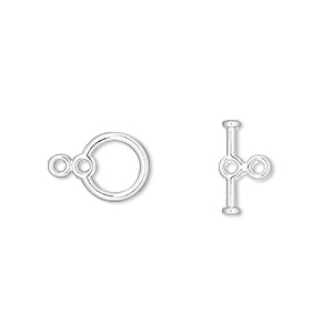 clasp, toggle, silver-plated pewter (zinc-based alloy), 9mm round with double loops. sold per pkg of 10.