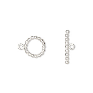 clasp, toggle, sterling silver, 10mm beaded round. sold individually.