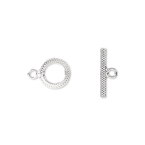 clasp, toggle, sterling silver, 10mm flat textured round. sold per pkg of 2.