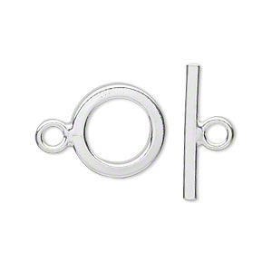 clasp, toggle, sterling silver, 14mm flat smooth round. sold individually.